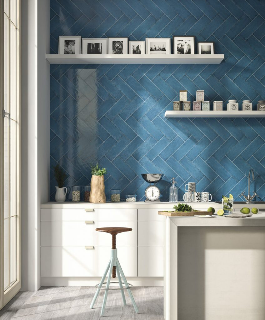 Herringbone Blue Ceramic Tile