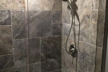 Silver Travertine French Pattern Tile Bathroom